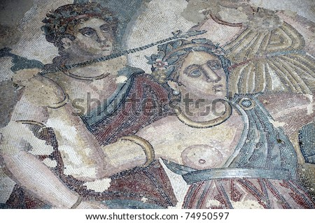 europe, italy, sicily, mosaics of the Casale Roman Villa in the Piazza Armerina