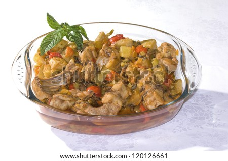 europe, italy, sicily, Rabbit stew with spices on a glass dish