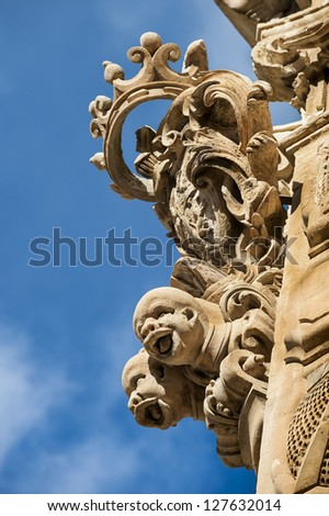 europe, italy, sicily, ragusa, scicli, baroque detail
