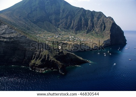 Europe, Italy, Sicily, salina, aereal view of malfa beach