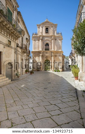 europe, italy, sicily, scicli, old baroque street and st. Michele church