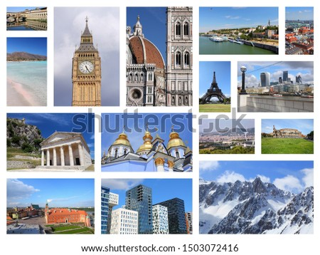 Europe landmarks collage postcard - tourism attractions montage including Paris, Florence, Rome, London, Barcelona, Kiev, Warsaw, Serbia and Greece. #1503072416