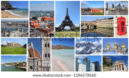 Europe landmarks postcard - tourism attractions collage including London, Oslo, Paris, Rome, Florence, Vienna, Belgrade, Kiev, Warsaw and Alps. #1286278660