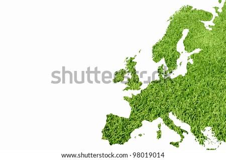 Europe map from green grass texture