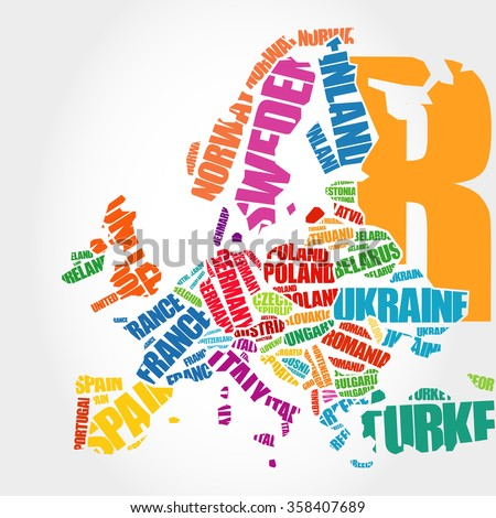Europe Map In Typography Word Cloud Concept Names Of