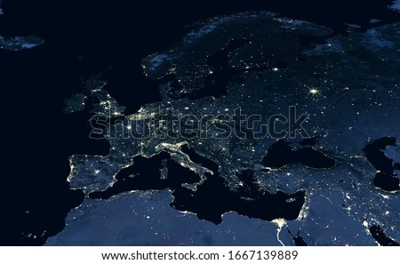 Europe map, view of city lights on night Earth in global satellite photo. EU, Russia, Mediterranean and Middle East in dark, part of World taken from space. Elements of this image furnished by NASA.