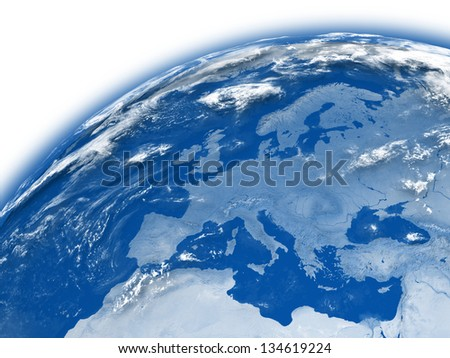 Europe on blue planet Earth isolated on white background. Elements of this image furnished by NASA.