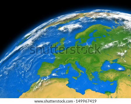 Europe on planet Earth isolated on black background. Elements of this image furnished by NASA.
