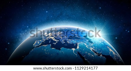 Europe planet Earth. 3D Rendering. Stars my own photo. Elements of this image furnished by NASA