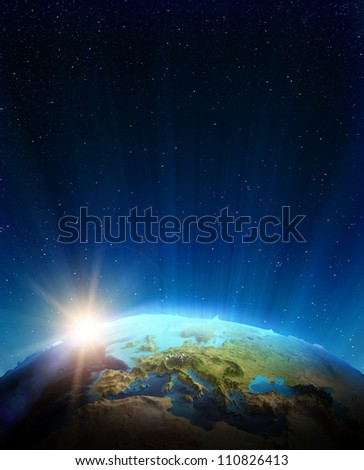 Europe real relief. Elements of this image furnished by NASA