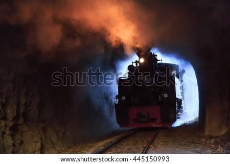 Europe, Romania, Viseu de Sus. Carpathian Forest Steam train. Vaser Valley Railway. Wood-burning, steam locomotive. Narrow-gauge railway. Initiated 1932.