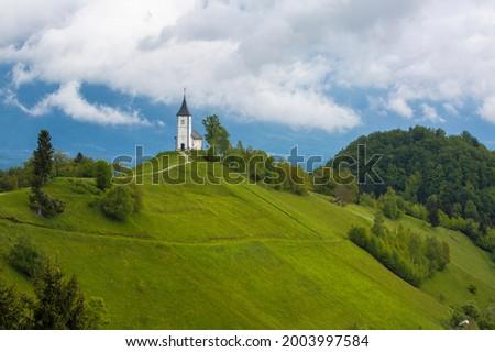 Europe, Slovenia, Jamnik. Church of St. Primus and St. Felician on mountaintop. Zdjęcia stock ©