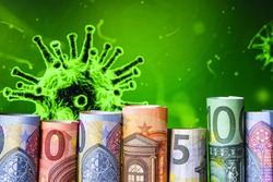 Europe stockmarket chart downtrend with banknote background, Covid19 virus pandemic crisis, euros rolled up, Coronavirus, emergency background, covid-19