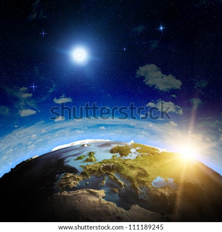 Europe sunrise. Elements of this image furnished by NASA