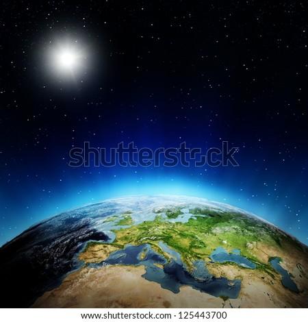 Europe sunrise. Elements of this image furnished by NASA