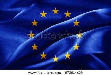 Europe union flag of silk -3D illustration Сток-фото ©