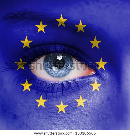 Europe Union flag painted on face