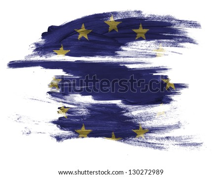 Europe Union flag painted on painted on white surface