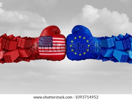 Europe USA trade fight and economic war with American tariffs as two opposing fist freight containers in European Union as an economy dispute over import and exports as a 3D illustration.
