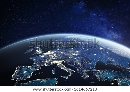 Europe viewed from space at night with city lights in European Union member states, global EU business and finance, satellite communication technology, planet Earth, world map from NASA