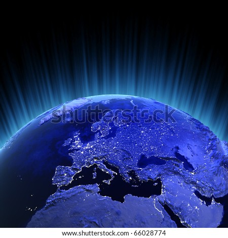 Europe volume 3d render. Maps from NASA imagery