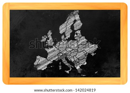 Europe with its single countries drawn on a blackboard