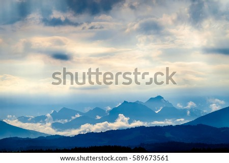 european alps at bad toelz - karwendel, benediktenwand #589673561