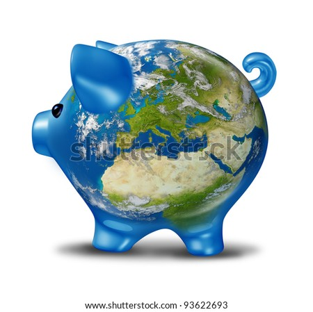 European banking and bad economy crisis with a piggy bank and world globe map of Europe as financial economic problems and business challenges of Greece Italy Spain Portugal in possible default.