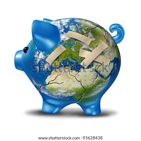 European banking and economy crisis as a cracked earth map piggy bank with bandages to repair a broken bank globe of Europe as financial austerity measures of Greece Italy Spain Portugal France. - stock photo