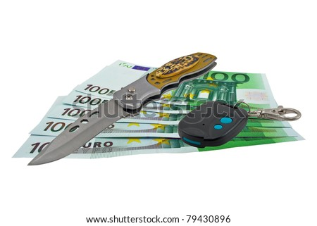 European banknotes, Pocket knife and Car trinket on a white background