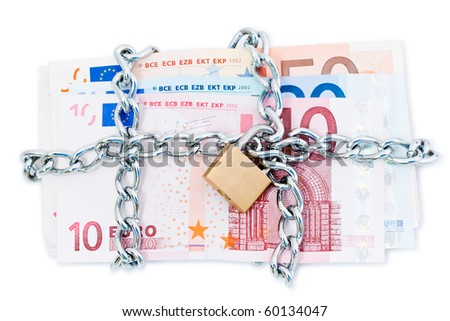 European banknotes secured with padlock and chain, isolated on white background