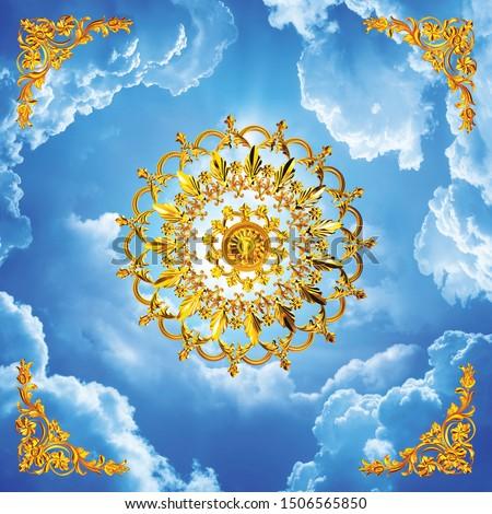 European Ceiling Wallpaper European 3D Angels blue sky ceiling ceiling muralswall mural wallpaper