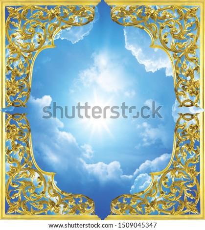 European Ceiling Wallpaper European 3D blue sky ceiling ceiling muralswall mural wallpaper