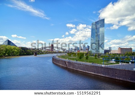 European Central Bank and Skyline of Frankfurt. ECB in Frankfurt with skyline and view over the Main