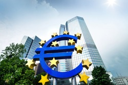 European central bank. Euro. Frankfurt city. Business and finance concept.