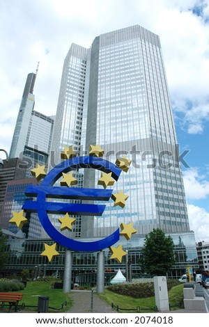 European Central Bank in Frankfurt with Euro Sign