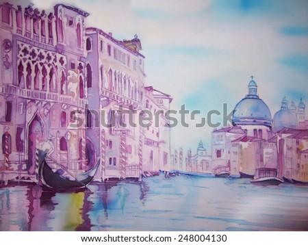European City Landscape- Venice Grand Canal - an original modern batik painting on silk