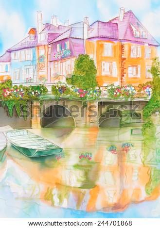 european city landscape with bridge - an original modern batik painting on silk