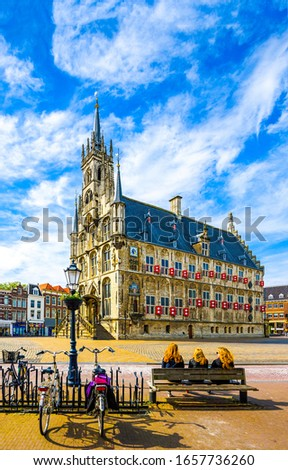 European city town square view. Old castle in Europe city. European city castle square