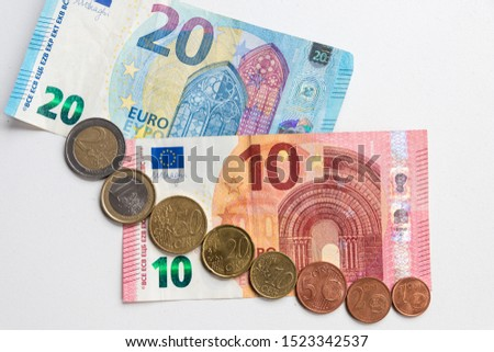European coins and european bank notes from europe show an important international currency and financial trade market thats relevant for business and economy investments in germany or other countries