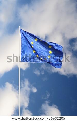 European community full fluttering flag - stock photo