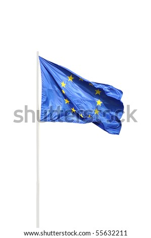 European community full fluttering flag
