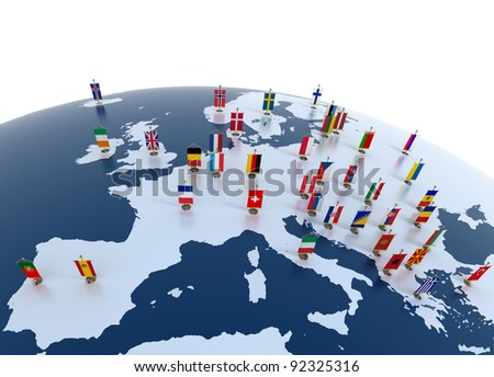 european countries 3d illustration - european continent marked with flags