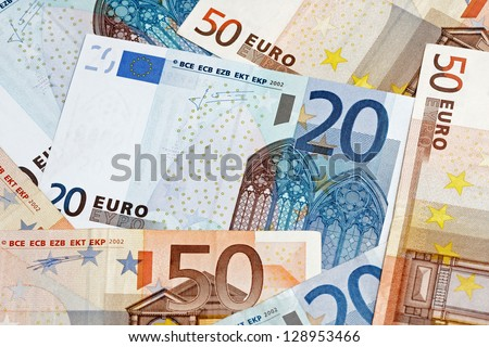 european currency background from euro banknotes
