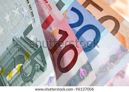 European currency banknotes fan close-up