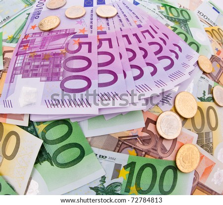 european currency collage - multicolored euro banknotes background