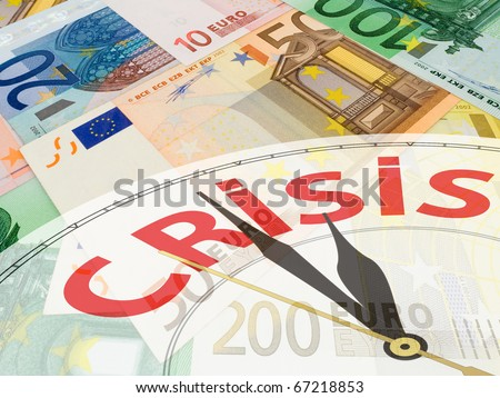 European currency collage - multicolored euro banknotes background - crisis concept