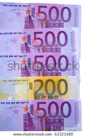 European currency (500 euro and 200 euro bills)