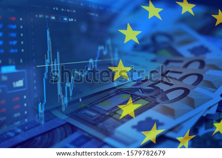 European currency Euro. Stock market. Currency market. European flag. Stock market chart. EEC. 50 euros. Value of money.