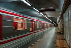 European Czech metro subway transit vehicle in motion - Subway Station